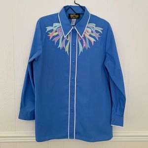 VTG Bob Mackie Wearable Art blue button down shirt